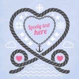 Valentijnskaart in mariene stijl Stock Foto's