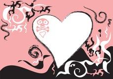 Valentijnskaart met een schedel Royalty-vrije Illustratie