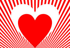 Valentijnskaart in rood en wit Royalty-vrije Stock Foto