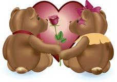 Valentijnskaart Teddies Royalty-vrije Stock Afbeeldingen