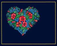 Valentijnskaart van bloemen op zwarte achtergrond Vector Illustratie