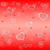 Valentijnskaarten backgroun met harten Stock Afbeeldingen