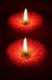 Valentijnskaarten bloemenkaarsen Stock Foto