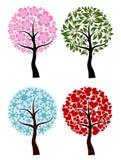 Valentijnskaarten, de lente, de achtergrond van de de winterboom,   vector illustratie