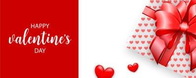 Valentijnskaarten die bannervlieger begroeten Stock Afbeeldingen