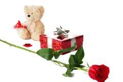 Valentijnskaarten die in een rij worden geplaatst Stock Fotografie