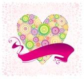 Valentijnskaarten en lint Stock Fotografie