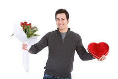 Valentijnskaarten: Mens met Romantische Giften Stock Foto