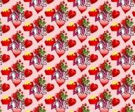 Valentijnskaarten Naadloos Achtergrond/Behang Stock Foto's