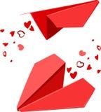 Valentijnskaarten paperplanes Royalty-vrije Stock Afbeeldingen