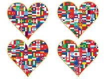 Valentijnskaarten van vlaggenpictogrammen dat worden gemaakt Stock Fotografie