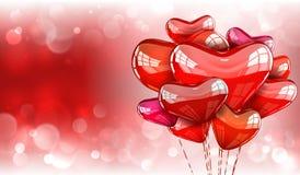 Valentijnskaartenachtergrond met ballons Stock Afbeeldingen
