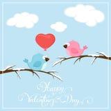 Valentijnskaartenachtergrond met vogels Royalty-vrije Stock Afbeeldingen