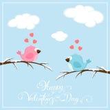 Valentijnskaartenachtergrond met vogels en harten Stock Afbeelding