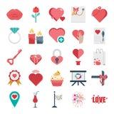 Valentijnskaartendag Gekleurde Vector en Geïsoleerde Pictogrammen vector illustratie