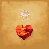 Valentijnskaartendag met geometrisch hart Stock Afbeelding