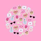 Valentijnskaartendag met liefdeelementen dat wordt geplaatst Inzameling van de elementen van de krabbelliefde voor huwelijk, de D vector illustratie