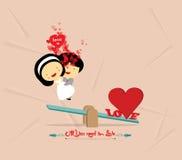valentijnskaartendag met romantisch geschommel Royalty-vrije Stock Afbeelding