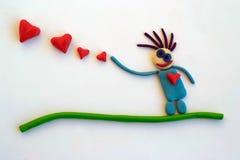 valentijnskaartendag in plasticine Stock Foto