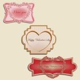 Valentijnskaartenetiketten Royalty-vrije Stock Afbeeldingen