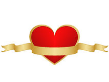 Valentijnskaartenhart en ribbong royalty-vrije stock foto