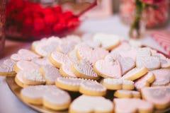 Valentijnskaartenhart Sugar Cookies Stock Foto