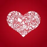 Valentijnskaartenhart van objecten wit Royalty-vrije Stock Afbeelding