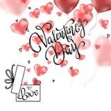 Valentijnskaartenharten met de prentbriefkaar van de giftdoos vector illustratie