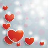 Valentijnskaartenkaart Grey Background Red Hearts Royalty-vrije Stock Foto's