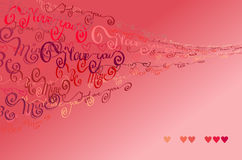 Valentijnskaartenkaart I houdt van u woordenachtergrond Royalty-vrije Stock Foto's