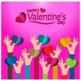 Valentijnskaartenkaart met hand - gehouden hart Vectorillustratie op blauwe achtergrond vector illustratie