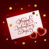 Valentijnskaartenkaart met harten en parels Stock Foto
