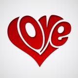 Valentijnskaartenkaart met liefde het van letters voorzien Royalty-vrije Stock Afbeeldingen