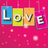 Valentijnskaartenkaart met liefdeachtergrond Stock Fotografie