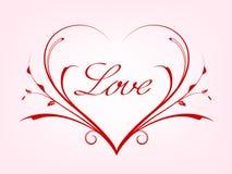 Valentijnskaartenkaart met lijnhart Stock Fotografie