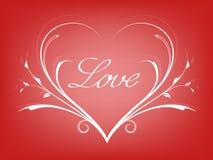 Valentijnskaartenkaart met lijnhart Stock Foto