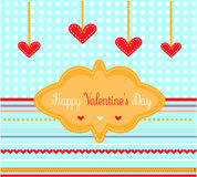 Valentijnskaartenkaart met rode harten Royalty-vrije Stock Afbeeldingen