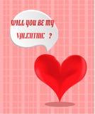 Valentijnskaartenkaart met rood hart Royalty-vrije Stock Afbeelding