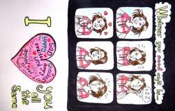 Valentijnskaartenkaart - wat er ook uw stemming zou kunnen zijn Stock Afbeelding