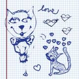 Valentijnskaartenkrabbels Stock Afbeeldingen