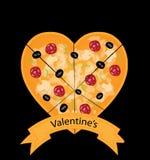 Valentijnskaartenpizza Stock Foto