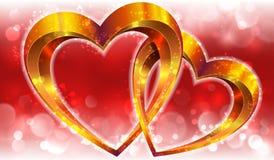 Valentijnskaartensamenstelling met gouden harten Stock Foto