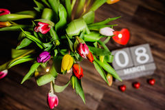 Valentim bonito das tulipas da mola Fotos de Stock