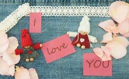 Valentim, cartão com pares de confecção de malhas no amor e p macio Fotografia de Stock