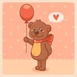 Valentim com o urso no fundo cor-de-rosa Foto de Stock Royalty Free