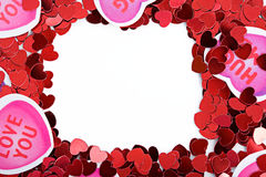 Valentim: Coração de papel Valentine Frame ou beira fotos de stock royalty free