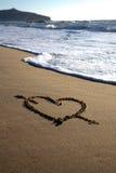 Valentim \ 'coração do dia de s com cruz e ondas Fotos de Stock