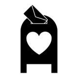 Valentim da mensagem da caixa do cargo do correio do amor da silhueta ilustração royalty free