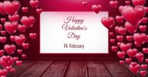 Valentim dia texto feliz do 14 de fevereiro e corações borbulhantes brilhantes dos Valentim na sala com floo de madeira ilustração royalty free