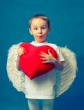Valentim do coração do anjo do menino Imagem de Stock Royalty Free